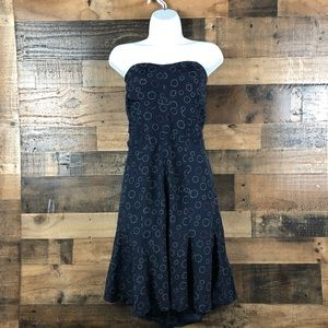 AE STRAPLESS DRESS WITH DESIGNS AND FLARE BOTTOM